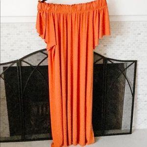 Zara Burnt Orange Off The Shoulder Maxi